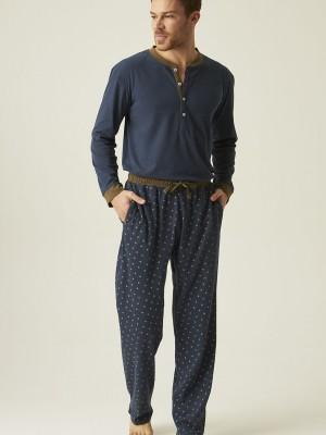Pijama hombre tapeta J&J Brothers azul punto algodón