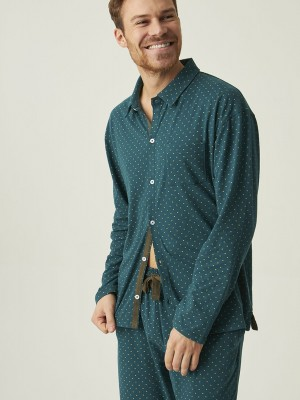 Pijama hombre abierto J&J Brothers verde punto algodón