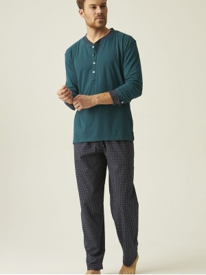 Pijama hombre tapeta J&J Brothers verde algodón