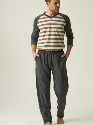 Pijama hombre J&J Brothers gris rayas punto algodón