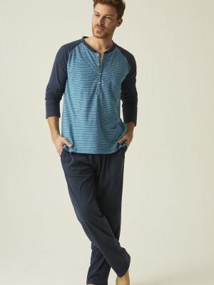 Pijama hombre tapeta J&J Brothers azul rayas punto algodón