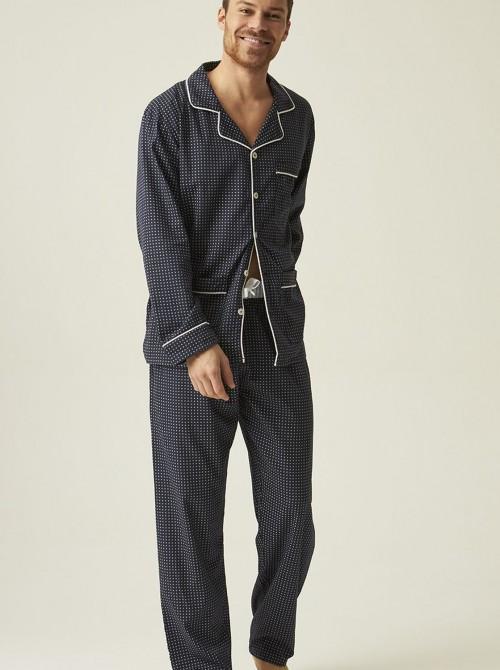Pijama popelin hombre abierto J&J Brothers azul tela