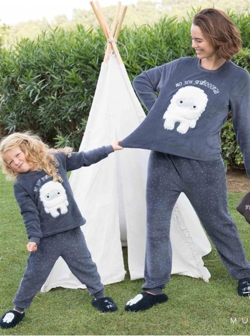 Pijama térmico puños niña Muydemi Yeti azul coralina