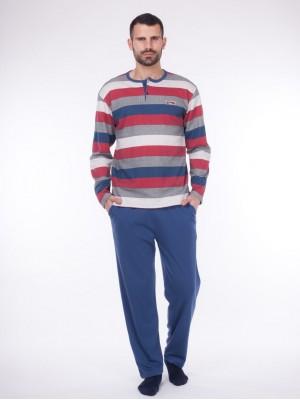 Pijama largo bolsillos hombre Rachas&Abreu rayas cuello abierto