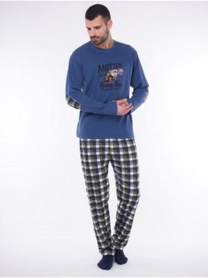 Pijama largo hombre Rachas&Abreu azul punto afelpado tallas grandes