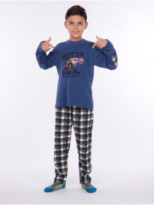 Pijama largo niño Rachas&Abreu azul punto afelpado
