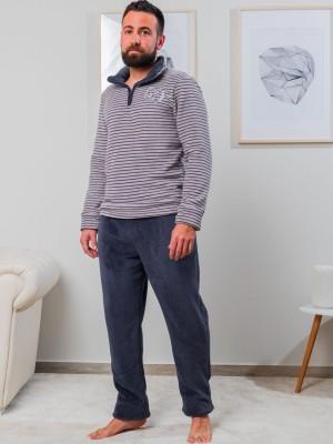 Pijama térmico hombre Blanca Hernández gris rayas coralina