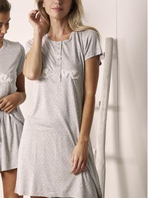 Camisola mujer manga corta ADMAS Love punto viscosa gris