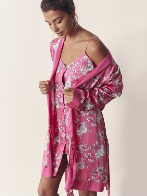 Camisón tirante Mujer ADMAS Pink Flowers Fucsia satén