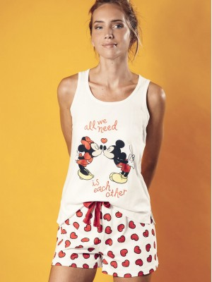 Pijama corto mujer tirante Disney Love Mouse crudo algodón