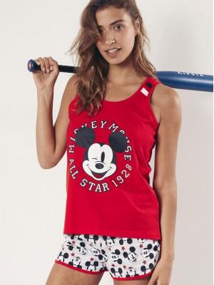 Pijama Verano Mujer DISNEY Mickey All Stars Rojo Algodón
