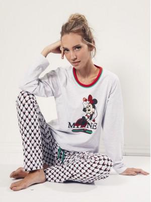 Pijama Verano Mujer DISNEY Mujer Largo Minnie Cool Gris Jaspe Algodón.