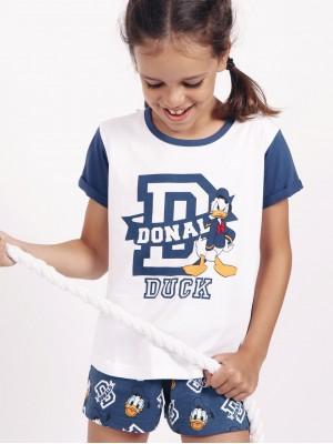 Pijama Verano Niña DISNEY Tween Chica Donald D Blanco Algodón.
