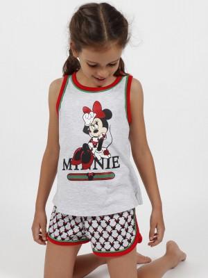 Pijama Verano Niña DISNEY Tween Chica Minnie Cool Gris Jaspe Algodón.