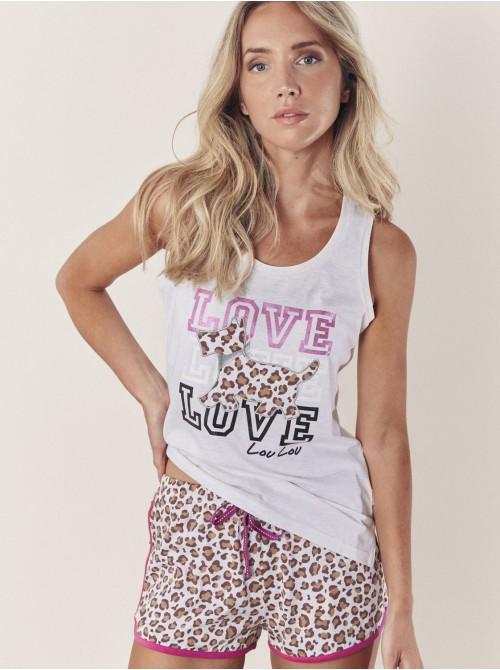 Pijama Verano Familiar Mujer ADMAS Lou Lou Jungle Beige Algodón