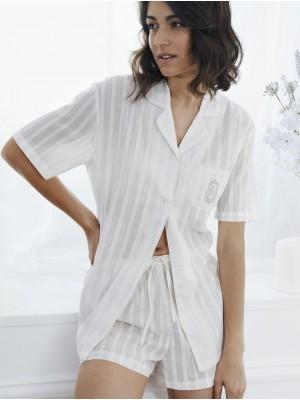 Pijama Verano Mujer ADMAS CLASSIC Abierto Luxe Stripes Perla Algodón.