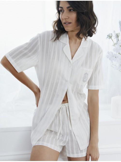 Pijama Abierto Verano Mujer ADMAS Luxe Blanco Algodón