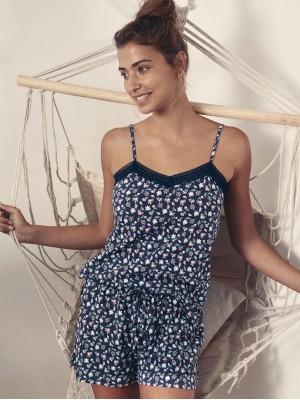Pijama Verano Mujer ADMAS Romantic Liberty Marino Algodón