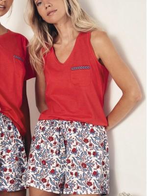 Pijama Verano Mujer ADMAS Sin Mangas Azul Rojo Algodón
