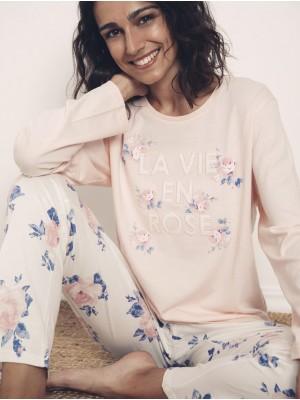 Pijama Verano Mujer ADMAS Largo La Vie En Rose Rosa Algodón.