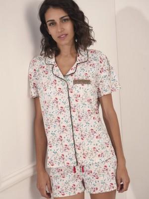 Pijama Verano Mujer ADMAS Abierto Pink Romantic Beige Algodón.