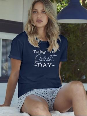 Pijama Verano Mujer ADMAS Mujer Great Day Marino Algodón