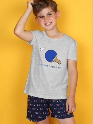 Pijama Verano Niño ADMAS Tween Chico Ping Pong Gris Jaspe Algodón.