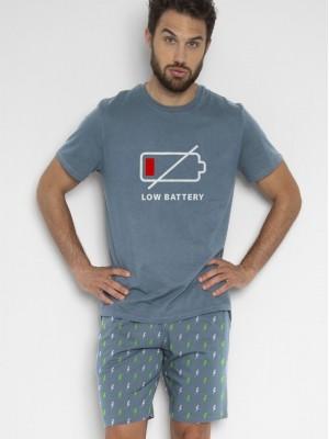 Pijama Verano Hombre ADMAS Hombre Battery Azul Algodón.