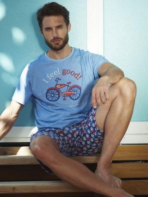 Pijama Verano Hombre ADMAS Hombre Feel Good Azul Algodón.