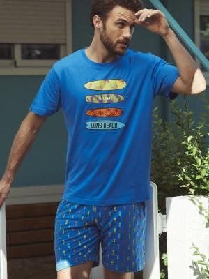 Pijama Verano Hombre ADMAS Surf Azul Bolsillos Algodón