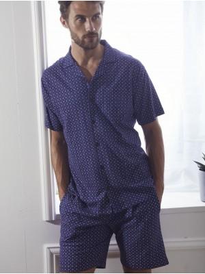 Pijama Verano Hombre ADMAS CLASSIC Abierto Tie Style Azul Algodón.