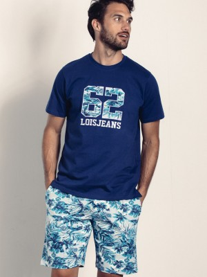 Pijama Lois Plants Verano Hombre Azul Bolsillos Algodón
