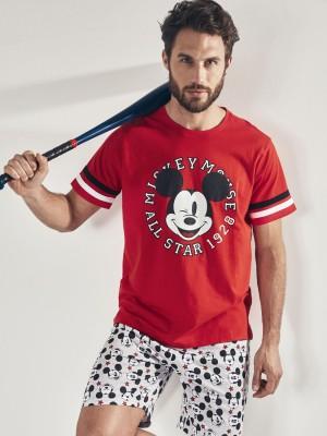 Pijama DISNEY Hombre Verano Mickey All Stars Rojo Algodón