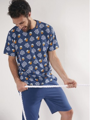 Pijama Verano Hombre DISNEY Donal Duck Azul Algodón