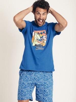 Pijama Verano Hombre DISNEY Hombre Mickey Neon Azul Algodón.