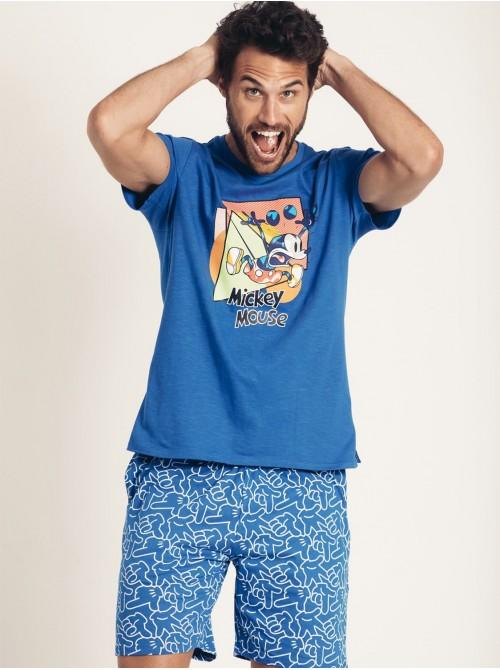 Pijama Verano Hombre DISNEY Mickey Neón Azul Algodón