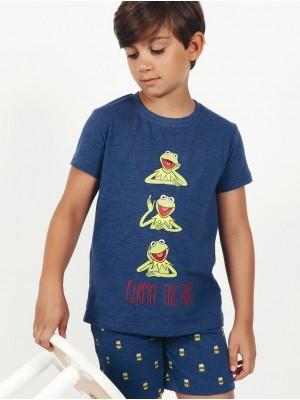Pijama Verano Niño DISNEY Tween Kermit The Frog Azul Algodón.