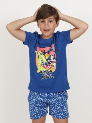 Pijama Verano Niño DISNEY Mickey Neón Azul Algodón