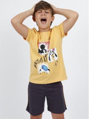 Pijama Verano Niño DISNEY Mickey Back Amarillo Algodón