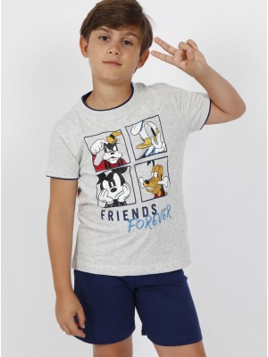 Pijama Verano Niño DISNEY Tween Chico Friends Forever Azul Algodón.