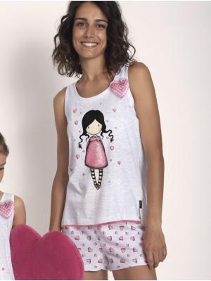 Pijama Verano Mujer SANTORO Awareness Gris Rosa Algodón