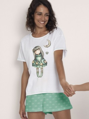 Pijama Verano Mujer SANTORO GORJUSS M-Rta Into The Ocean Blanco Algodón.