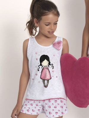 Pijama Verano Niña SANTORO Awareness Gris Rosa Algodón