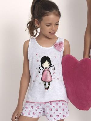 Pijama Verano Niña SANTORO GORJUSS Tween Chica Tirantes Awareness Gris Jaspe Algodón.