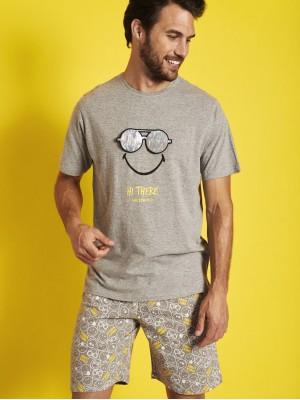 Pijama Verano Hombre SMILEY Hombre Icon Holographic Gris Jaspe Algodón.
