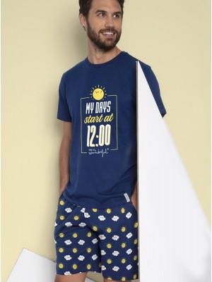 Pijama Verano Hombre MR. WONDERFUL Manga Corta Azul Algodón