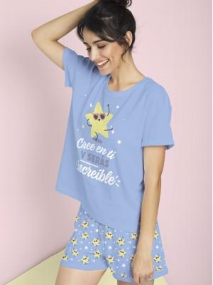 Pijama Verano Mujer MR WONDERFUL Mujer M-Rta Cree En Ti Azul Algodón.