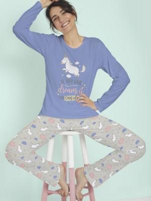 Pijama Verano Mujer MR WONDERFUL Mujer Largo Unicornio Azul Algodón.