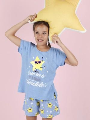 Pijama Verano Niña MR WONDERFUL Tween Chica M-Rta Cree En Ti Azul Algodón.