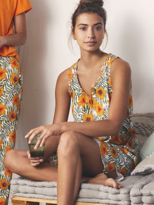 Camisola Verano Mujer ADMAS Orange Hawaii Naranja Algodón